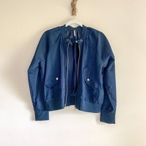 Free People Navy Satin Bomber Jacket Coat Zip-up